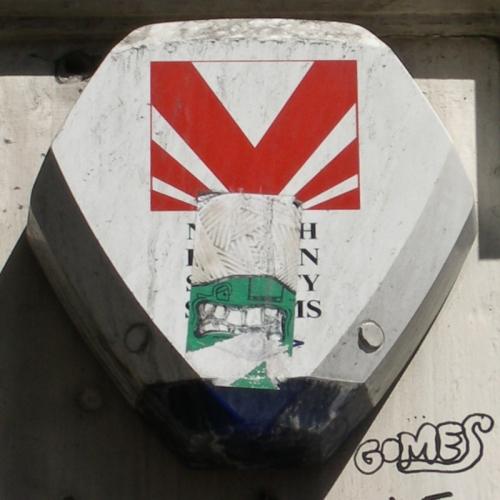 """North London Security"" burglar alarm with teeth sticker, Hackney, 2006"