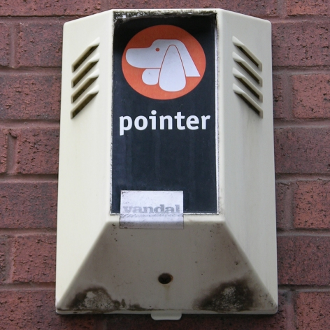 """""""Pointer"""" burglar alarm with """"Vandal"""" sticker, Glasgow, 2010"""