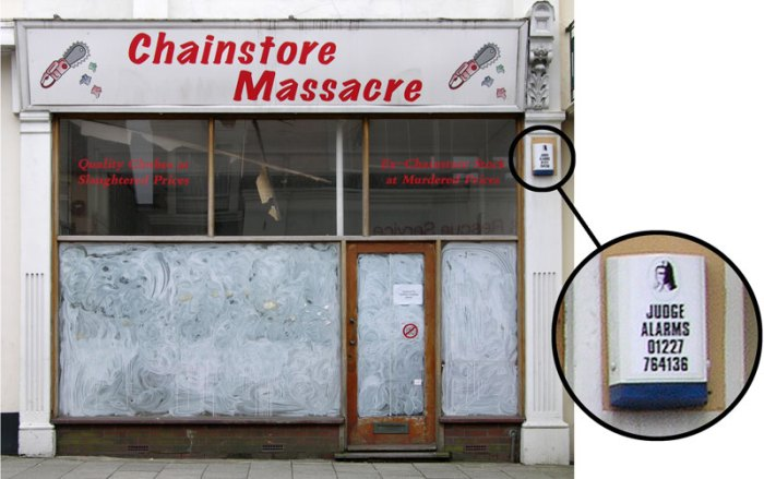 Judge alarm on Chain Store Massacre shop Herne Bay 2004