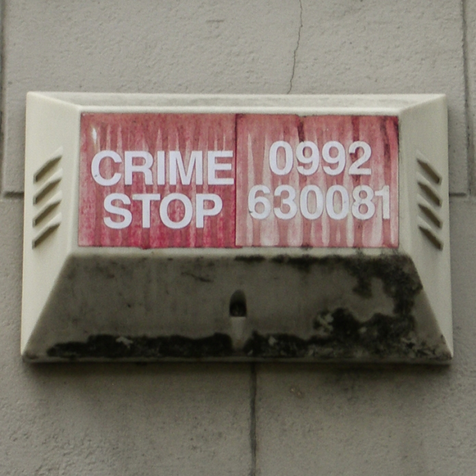 Crime Stop burglar alarm, Hackney, 2006