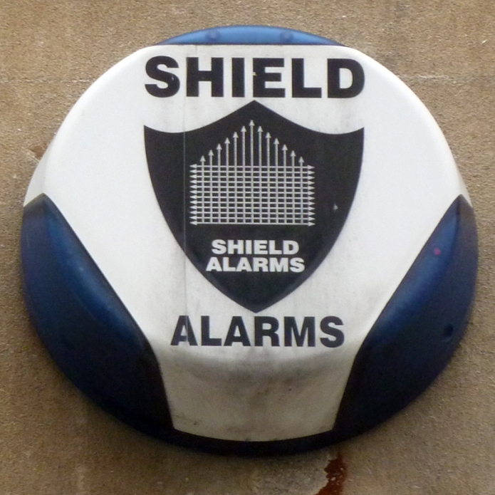 "Security Hut Symbol: ""Shield Alarms"", Bristol: A Hut Made Of Arrows"